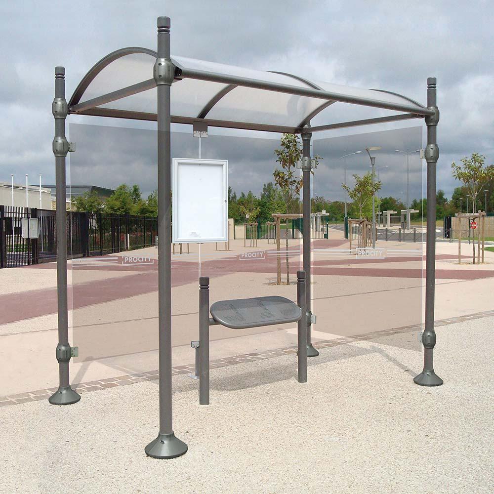abri bus poteaux ronds mobilier urbain. Black Bedroom Furniture Sets. Home Design Ideas